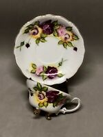 Norcrest Fine China Mauve Pink Roses Hand Painted 3 Gold Footed Teacup Saucer
