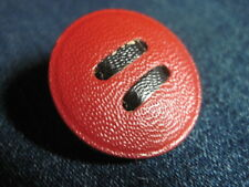 ANT/VTG RED & BLACK 'LEATHER' LOOK BUTTON DESIGN CELLULOID/EARLY PLASTIC BUTTON