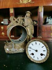 Pendule régule pour pièce XIX mouvement médaille d'argent bronze horloge ancien