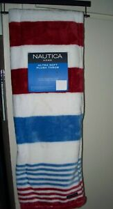 "NAUTICA THROW BLANKET NW 50""x70"" RED WHITE BLUE STRIPES AMERICANA BEDROOM"
