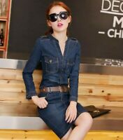Chic Women Denim Jean Dress Slim Fit Long Sleeve V-neck Fashion Denim Dress