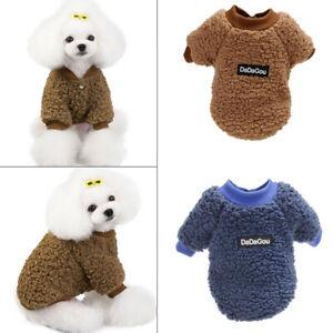 Pet Warm Coat Sweater Jacket Puppy Coral Fleece Winter Dog Cat Size S-2XL