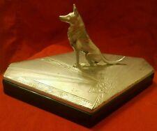 HUGE Deco Vanity Box Weidlich Bros German Shepherd Silverplate Amethyst Glass