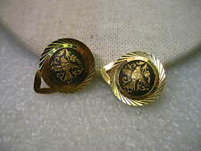 Vintage Gold Tone Damascene Clip Earrings with Etched Frame, 7/8""