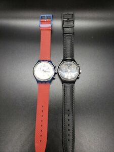 2 Vintage Swatch AG1990 & AG1991 Chronograph 22 Jewel Swiss Quartz Watches