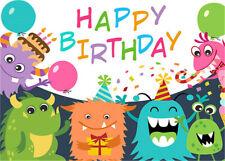 Photography Backdrop Happy Birthday Cartoon Monster Background 7x5FT Vinyl Props