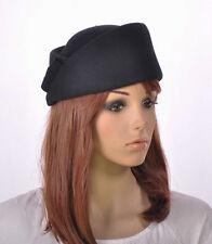 M149 Black Smart Design Cashmere Wool Lady Winter Hat Fedora Cap Dress Church