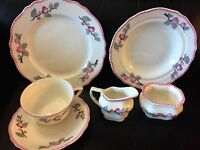 Vintage Steubenville Set Tea Cup Saucer Sugar Creamer Plate Floral Pink 6 piece