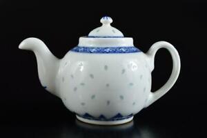 L413: Chinese Blue&White Firefly sculpture TEAPOT Kyusu Sencha Tea Ceremony