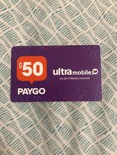 Ultra Mobile  Prepaid $50 Refill Top-Up Prepaid Card ,PIN / RECHARGE