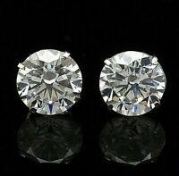 4 Carat Diamond Stud Earrings Round Stud Earrings 14K White Gold Value $395