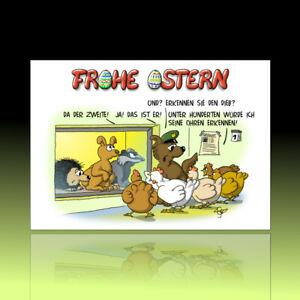 10 witzige Osterkarten, Postkarten, lustiger Cartoon, Osterpostkarten Eierdieb