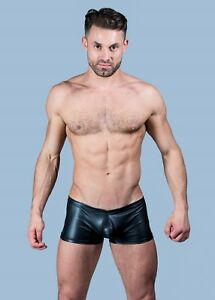 Mens Wet Look Faux Leather Boxer Trunks Shorts Enhanced Hot Pants FAST UK POST