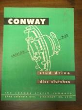 Vtg Conway Clutch Company Catalog~Asbestos~Disc Clutches for Machine Tools
