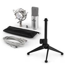 auna USB Kondensator Studio Mikrofon Set Spinne Tischstativ Tasche silber