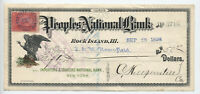 1898 Peoples National Bank Rock Island IL 2ct battleship check [y3880]