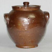 Antique Alkaline Glazed Stoneware Jar Handles Lidded Sugar Bowl Bean Pot