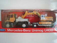 Mercedes Benz Unimog U400 mit Tieflader und Bagger 1:32  *NEU* ca. 34cm