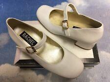 Spain Rachel White Leather Heel Buckle Closure Mary Janes Kid Size 3W / Women 5W