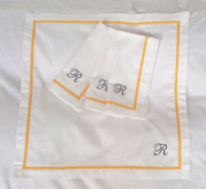 "Pottery Barn Mark and Graham Grosgrain Border Napkins White Yellow ""R"" S/4"