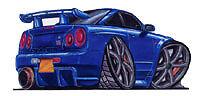 Nissan Skyline R34 GT-R Blue Cartoon t-shirt v-spec II r-tune s-tune sizes S-3XL