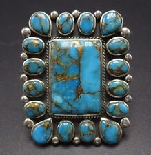 Big NAVAJO Sterling Silver & Deep Blue TURQUOISE Cluster RING, sz 6.25 RECTANGLE