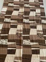 Vintage 50s 60s Brown Abstract Barkcloth Curtain Mid Century Modern Atomic Era A