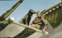 Wing Commander Johnnie Johnson and Sally RAF Spitfire WW2 WWII Color 4x6