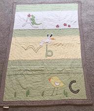 Pottery Barn Kids Quilt Abc Blanket Green Gingham Unisex Cotton Yellow Animal