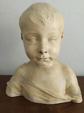 Ancien buste d'enfant en plâtre patiné 28 cm santonnier J. PEYRON?