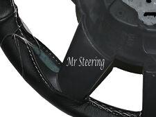 Pour PEUGEOT 406 (95-04) cuir noir véritable Couverture volant blanc stitch
