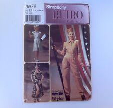 Simplicity Pattern Retro Costume Uso Wwii Troop Entertainer Nurse Women 14-20