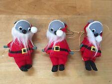 Set of 3 Vintage Christmas Santa Claus Mice Ornaments - FELT MOUSE ELVES - Japan