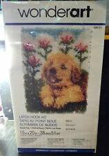New listing Caron WonderArt 4102 Flower Pup Dog Labrador Latch Hook Kit Rug Complete w hook!
