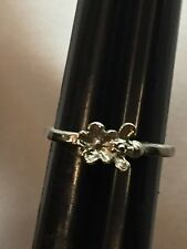 Small Silver Metal Fashion Jewelry-Bee Pollinating A Flower Themed Ring-Size 5