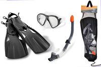 Adults Snorkel, Mask & Flippers (Fit UK size 5-7) Dive Diving Snorkelling Set
