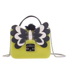 FURLA Jelly Shoulder Crossbody Bag Butterfly Faux Fur Pom Pom Made in Italy