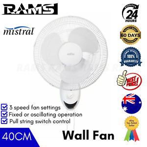 Mistral Wall Mounted Fan String Cord 40CM Pull Control 3 Speed Oscillating White