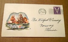 "1943! ""Then and Now,Sailing for Victory""! USA Navy! w/(1) 3 Cent Stamp! VG Cond!"
