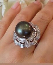 VINTAGE RARE LARGE 15mm Black South Sea  PEARL & Diamond RING  in platium UFO