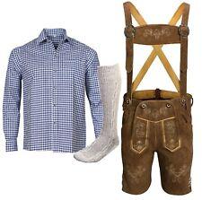 Trachtenset Herren Kurz Trachtenlederhose Gr 46 bis 60 Blau Hemd Socken KBBH02