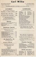 Vintage CARL WILKE Restaurant Menu, Russ & Hunter-Dulin Buildings San Francisco