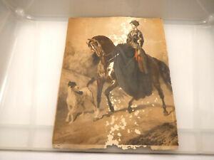 um 1830 antike Grafik  Frau zu Pferd mit Hund sign. Johann Höfelich   beschädigt