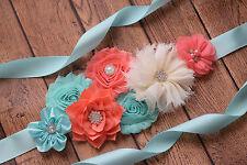 Flower Sash,Aqua , coral and ivory Sash, #1  , flower Belt, maternity sash