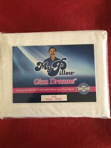 My Pillow Full- White Stripe 100% Giza Dreams Bed Sheet Set - Brand New
