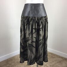 Vintage 10 midi Skirt Black Leather High waist Full Circle Skirt Camo Euc