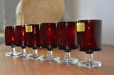 6x LUMINARC Gläser Schnapsgläser rubinrot VERRERIE D´ARQUES FRANCE Likörgläser