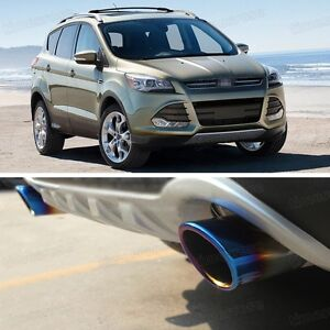 2 x Titanium Blue Exhaust Muffler Tail Pipe Tip Tailpipe for Ford Kuga 2013-2017
