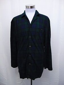 Nautica Sleepwear, Men's Button Front Plaid Print Pajama Camp Shirt Large #3062