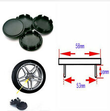 Cars Wheel Hub Center Caps 58mm / 53mm Black ABS DIY Modified 4pcs 0.39inch long